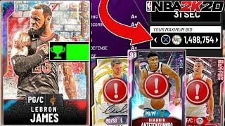 I spent 1.4 MILLION MT on the BEST card in 2K20! Galaxy Opal LEBRON JAMES! (NBA 2K20 MYTEAM)