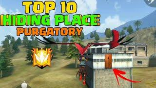 TOP 10 HIDING PLACE ( PURGATARY ) USING GLIDER IN FREE FIRE | HIDING PLACE IN FREE FIRE