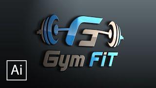 Gym Fit Logo Design Tutorial in Illustrator cc | How to make professional logo design in Ai