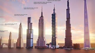 TOP 10 Tallest Buildings In The World   Evolution Of World's Tallest Buildings: Size comparison 2022