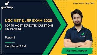 TOP 10 MOST EXPECTED QUESTIONS OF RANKING for UGC NET | MHSET | KSET | Gradeup | Nishant Kapoor
