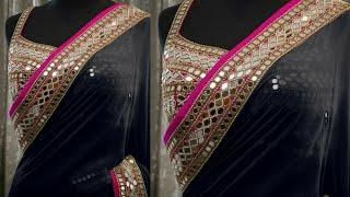 Top 10 Plain Saree With Mirror Work Blouse Designs | Beautiful Heavy Blouse Party Wear Sarees