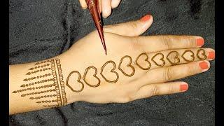 very easy back hand Arabic mehndi design-back hand heart shape easy mehndi- त्यौहार स्पेशल मेहंदी