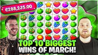 TOP 10 BIGGEST WINS OF MARCH! | Amazing month with new record wins