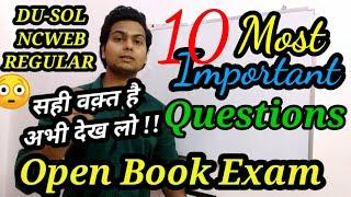 DU-SOL Top10 Most Important Questions for online Open Book Exam | OBE | NCWEB | YSC ACADEMY | 2020