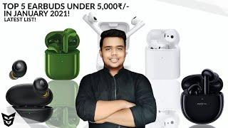 Top 5 TWS Earbuds Under 5000₹/- In Month Of January 2021 | Top 5 Truly Wireless Earphones Under 5000