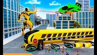 Flying School Bus Robot Hero Robot | Amazing City Rescue Bus Robot Android GamePlay | By Game Crazy