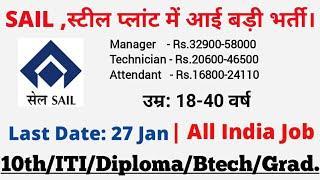 SAIL भर्ती 2020  - 10th/ITI/Diploma/ SAIL Steel Plant Vacancy 2020 / SAIL Recruitment 2020 /Govt Job