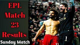 Premier league results   Match 23 results   EPL Table   Stats   Top Scorer 2019/20