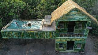 Build The Technologically Modern Bamboo Swimming Pool On House In Forest