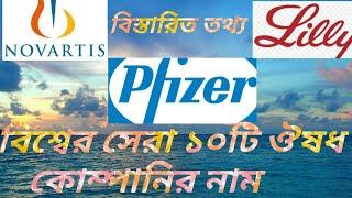 ( বিশ্বের সেরা ১০টি ঔষধ কোম্পানি)Top 10 pharmaceutical companies in world.