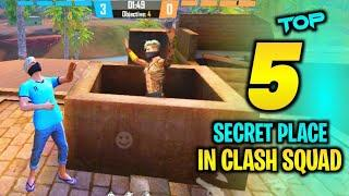 TOP 5 CLASH SQUAD SECRET PLACE FREE FIRE | FREE FIRE TIPS AND TRICKS | GARENA FREE FIRE