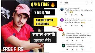 MY SECOND Q/NA RESULT||I REPLIED TOP 10 QUESTIONS||FREEFIRE||सवाल आपके जवाब मेरे||SK GAMING YT