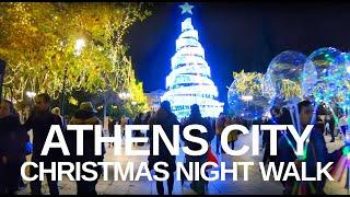 [4K] Athens Greece - Xmas Night Walk Monastiraki Square to Syntagma Square