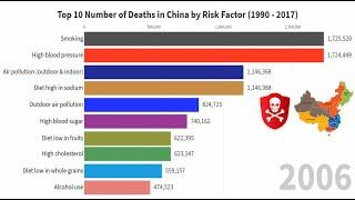 Top 10 Number of Deaths in China by Risk Factor
