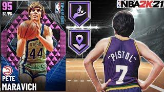 PINK DIAMOND PETE MARAVICH GAMEPLAY! THE BEST AUCTIONABLE OFFENSIVE POINT GUARD IN NBA 2K21 MyTEAM!