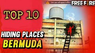 TOP 10 HIDING PLACES IN BERMUDA MAP FREE FIRE Ranked Match|