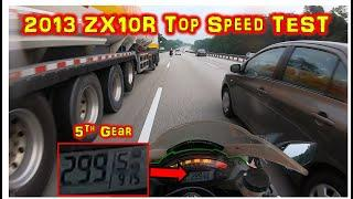 2013 Kawasaki ZX10R Top Speed Test | Super Busy Road Testing