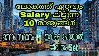 Top 10 highest Salary paying Countries 2020 | Malayalam