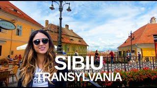[4K] Sibiu, Romania - With Relaxing, Natural Sounds. City Walking Tour Sibiu Transylvania.