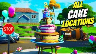 ALL 10 CAKE LOCATIONS in Fortnite 3rd Birthday! | Dance in Front of Different Birthday Cakes