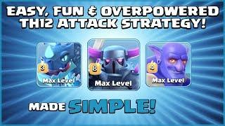 *STRONGEST* TH12 Attack Strategy - E-DRAGS + PEKKA + BATS = WIN! - Clash of Clans