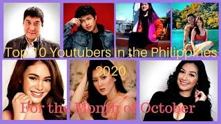 Top 10 Youtubers in the Philippines For the month of October 2020