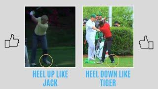 HEEL DOWN like TIGER OR HEEL UP like JACK? OVER 10 MASTERS CHAMPIONSHIPS between them!  Golf WRX