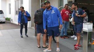 Watch: Injured Rohit Sharma travels with teammates to Hamilton
