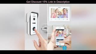 Top TMEZON  Wireless/Wifi Smart IP Video Doorbell Intercom System ,10 Inch+7 Inch Screen Monitor wi
