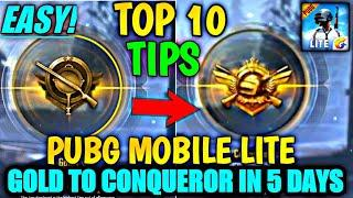 USE THIS TOP 10 EASY TIPS AND TRICKS AND REACH CONQUEROR IN 5 DAYS | PUBG MOBILE LITE CONQUEROR TIPS