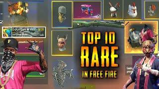 TOP 10 RARE & MOST DEMANDING ITEMS IN GARENA FREEFIRE || FREE FIRE OLD ID RARE COLLECTIONS TAMIL