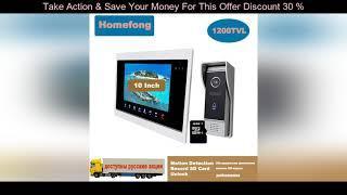 Top HOMEFONG  10 INCH LARGE SCREEN VIDEO DOOR PHONE INTERCOM SYSTEM DOORBELL WITH CAMERA MOTION DET