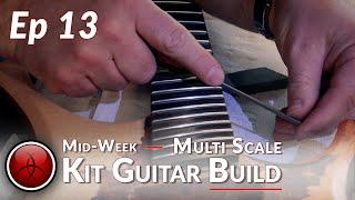 Shrek's Little Brother Shred 13 - Fret Level - How to Build a Copper Leaf Multi-Scale Kit Guitar