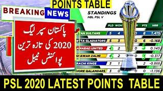 PSL 2020 Latest Point Table || PSL 5 New Points table || Pakistan Super league Latest Points table