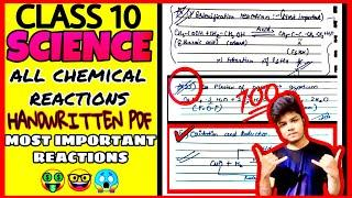 ALL CHEMICAL REACTIONS OF SCIENCE | CLASS 10 | PDF | NOTES | MOST IMPORTANT CHEMICAL REACTIONS |