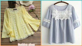 stylish designer's lace patch work casual cotton blouse and top styles 2020
