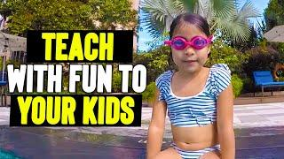 Swimming lesson for kids in super nice pool. How to teach with fun