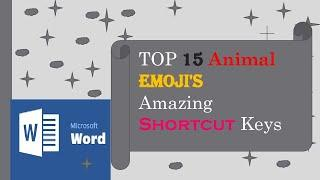 TOP 15 Animal Emojis Shortcut Key In MS Word |  Shortcut Key to Insert Symbol in MS Word  Latest
