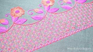 Eye Catching Hand Embroidery Border Art, Pure Hand Embroidery Edge Design, Lucky Embroidery-277