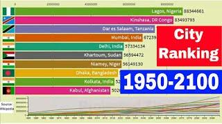Top 10 World most population cities ranking - Population growth by city (1950-2100)