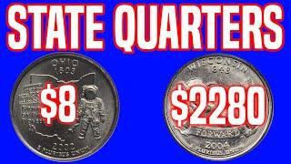 TOP 10 Most Valuable US State Quarters - High Grade Quarters Sell for BIG Money