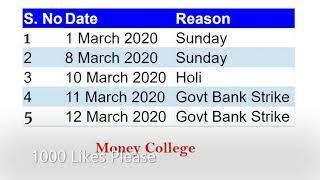 Bank holidays in March 2020 | Bank Holiday in Telugu | SBI Bank holiday list in AP and Telangana