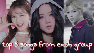 my top 3 favorite songs from each kpop group