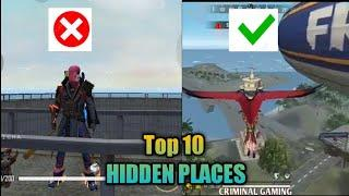 Free fire top 10 hidden places in Bermuda|secret place using glider|How to use glider in free fire|