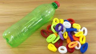 PLASTIC BOTTLE & RUBBER BAND CRAFT IDEA | BEAUTIFUL FLOWER OUT OF RUBBER BANDS