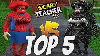 TOP 5 Scary Teacher 3D Venom VS Scary Teacher 3D Spider Man   Miss T Outfits   Android & iOS
