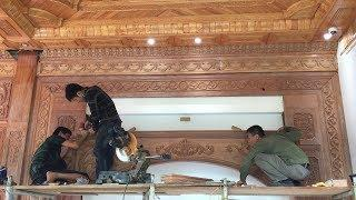 Amazing Skill For Woodworking Project // How To Build and Install Partition Wall Carved Wood!!!