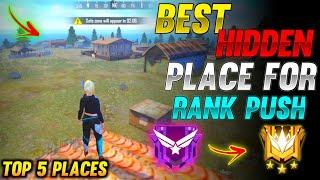 TOP 5 NEW HIDDEN PLACE IN FREE FIRE IN BERMUDA 2021 | RANK PUSH TIPS AND TRICKS IN FREE FIRE 2021