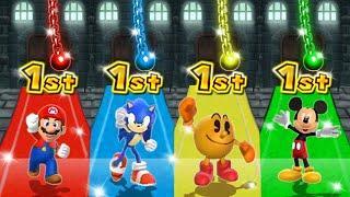 Mario Party 9 MiniGames - Mario Vs PacMan Vs Mickey Mouse Vs Sonic (Master Cpu)